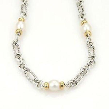 David Yurman 925 Silver 18k Yellow Gold & Pearls Oval