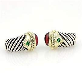 David Yurman 925 Silver 14k YGold Garnet & Green Quartz