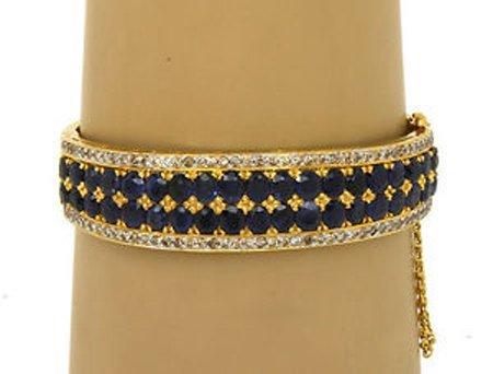 Vintage Esate 14k Yellow Gold 18ctw Diamond & Sapphire