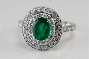 GORGEOUS 14K WG DIAMOND & EMERALD RING