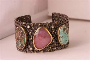 Designer large 3 gem stone bangle.