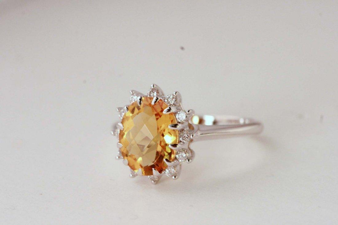 14K W/G DIAMOND & CITRINE RING