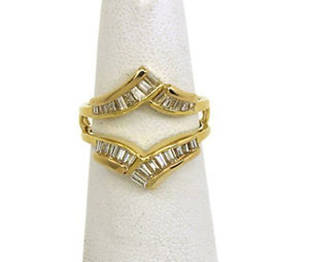 Vintage 18k Yellow Gold & Baguette Diamonds Open Design