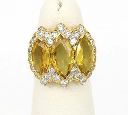 18kt Y/Gold 9.40ctw Marquise & Round Cut Diamond &
