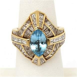 Lovely Vintage 18k Yellow Gold 4ctw Diamond & Blue