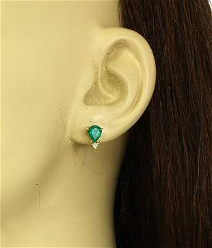 18K YELLOW GOLD EMERALD SOLITAIRE EARRINGS W/ DIAMOND