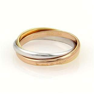 Cartier 18k Tri-Color Gold Trinity Rolling 3 Bands Ring