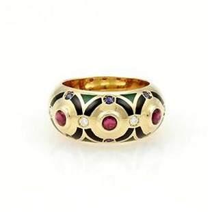 Cartier 18k Y/Gold Diamond, Emerald, Sapphire & Enamel