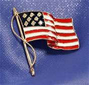 New Charming 14k Gold  Diamond Enamel US Flag Pin