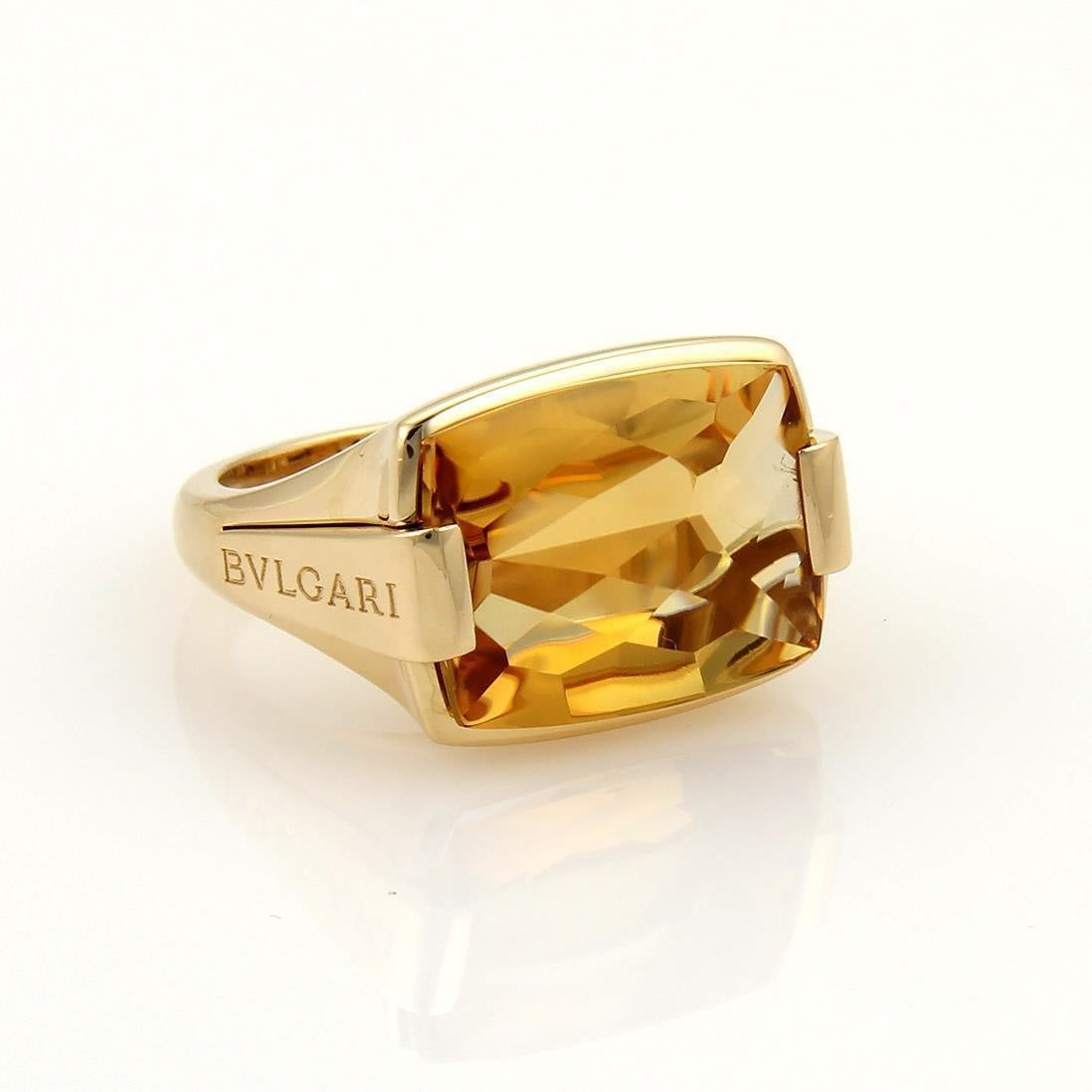Bulgari Bvlgari Citrine 18k Yellow Gold Solitaire Ring