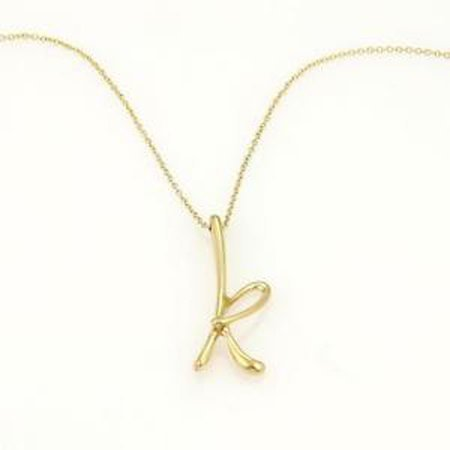 "Tiffany & Co. Elsa Peretti Initial ""K"" Pendant 18k"