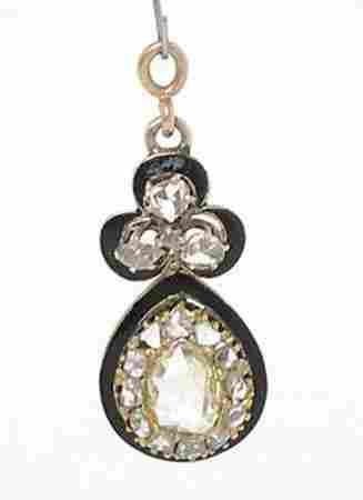 Edwardian 14k Yellow Gold 1ctw Rose Cut Diamond & Black
