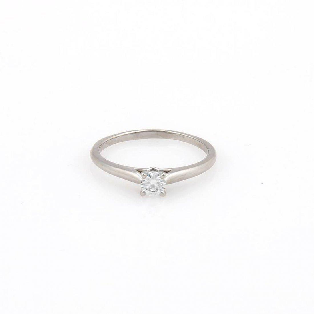 Cartier Platinum 0.18 Ct D-VS1 Round Brilliant Diamond