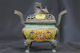 CHINESE TEMPLE STYLE BRONZE CENSER