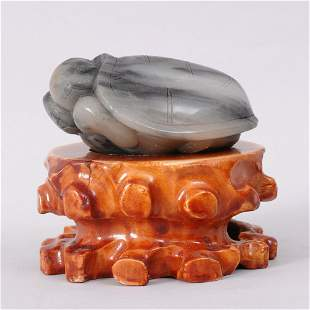 VERY FINE CHINESE QING CARVED JADE TURTLE