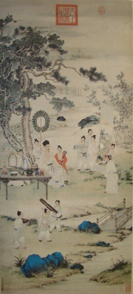4094: A very fine Chinese painting attributed to Liang,