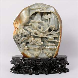 1080: VERY FINE CHINESE CARVED JHETIAN ZI ADE BOULDER
