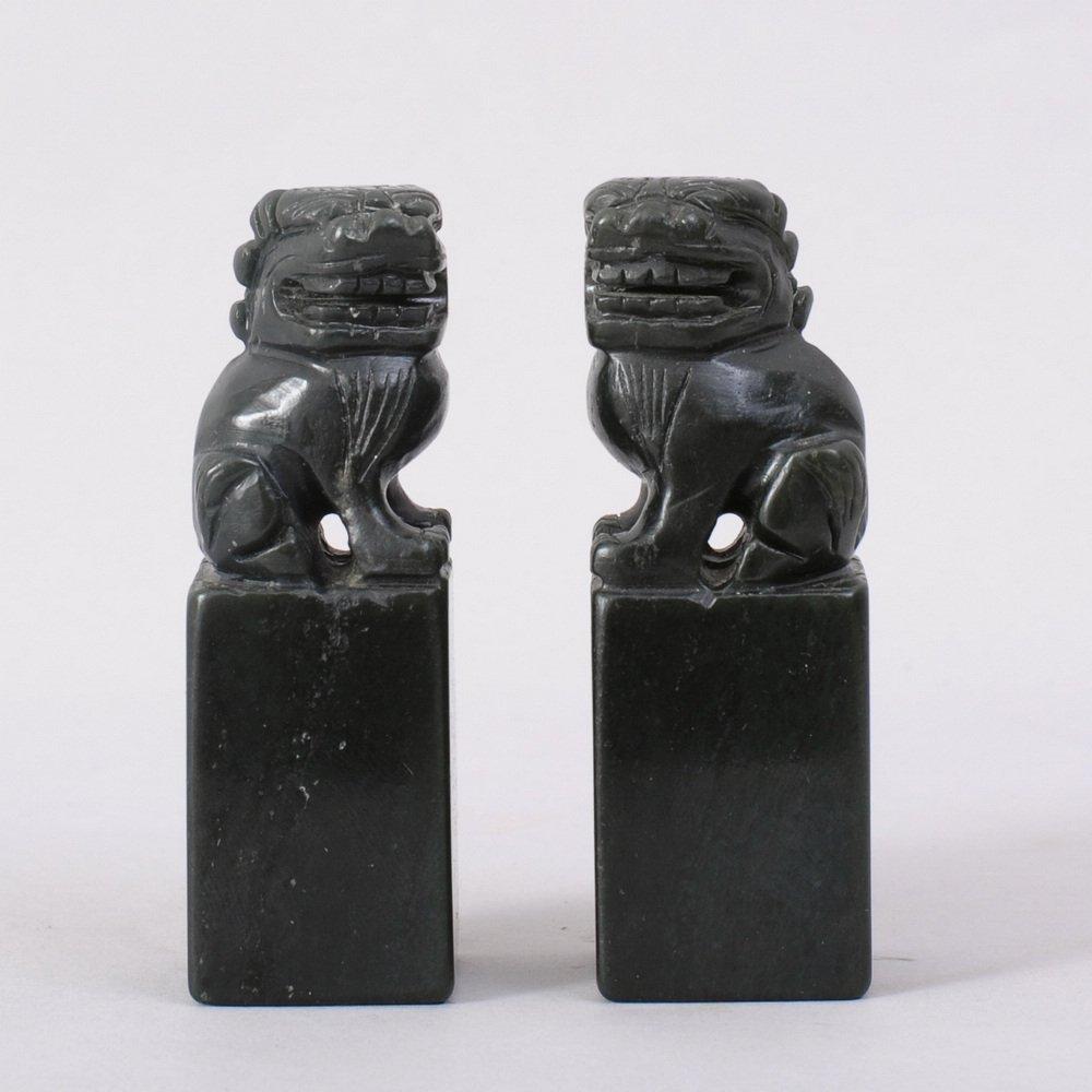 1102: PAIR OF CHINESE CARVED HETIAN JADE FOO DOG SEALS