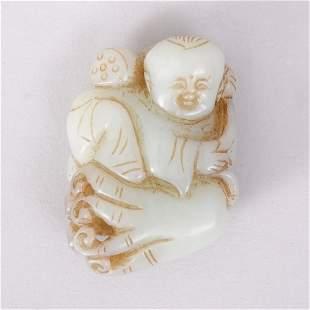 1108: CHINESE CARVED HETIAN JADE BOY