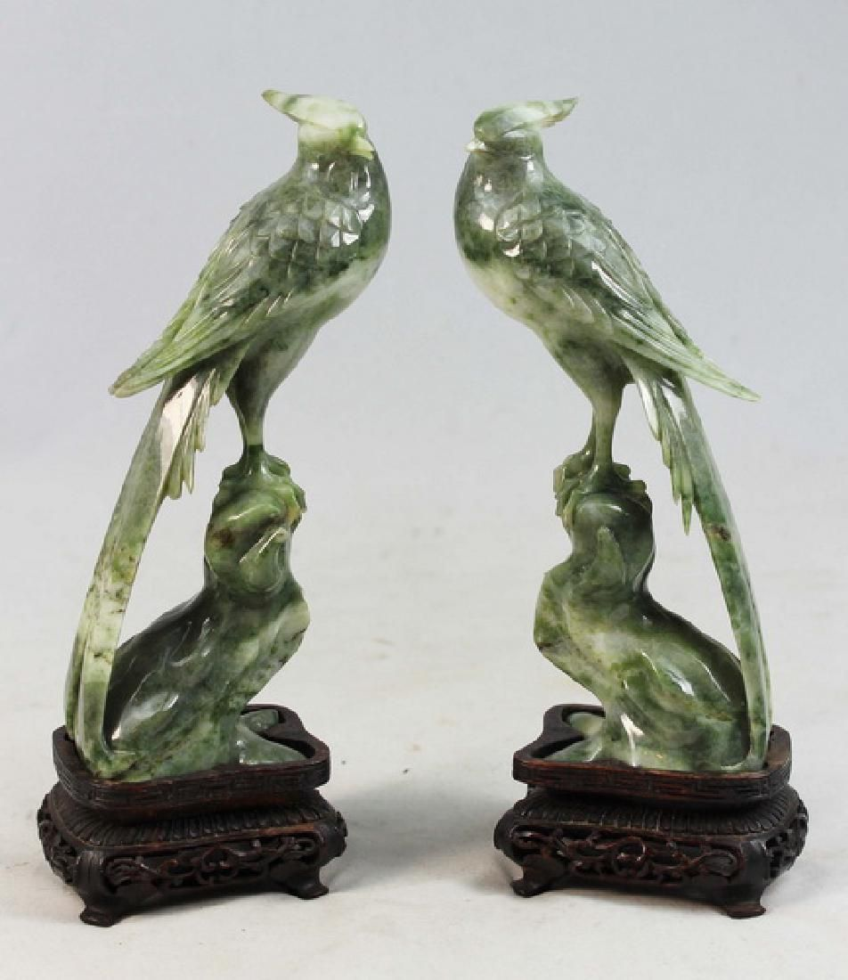 Pair Of Chinese Carved Jade Statues w,Wood Bases