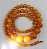 Vintage Natural Egg Yolk Baltic Amber Bead Necklace