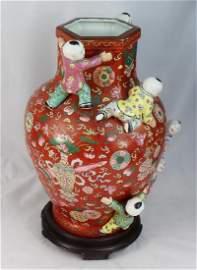 Antique Chinese Porcelain Vase w.Wood Base Marked