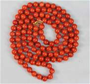 Vintage Carved Natural Red Coral Bead Necklace