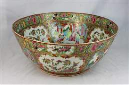 Antique 19th C Chinese Rose Medallion Punch Bowl