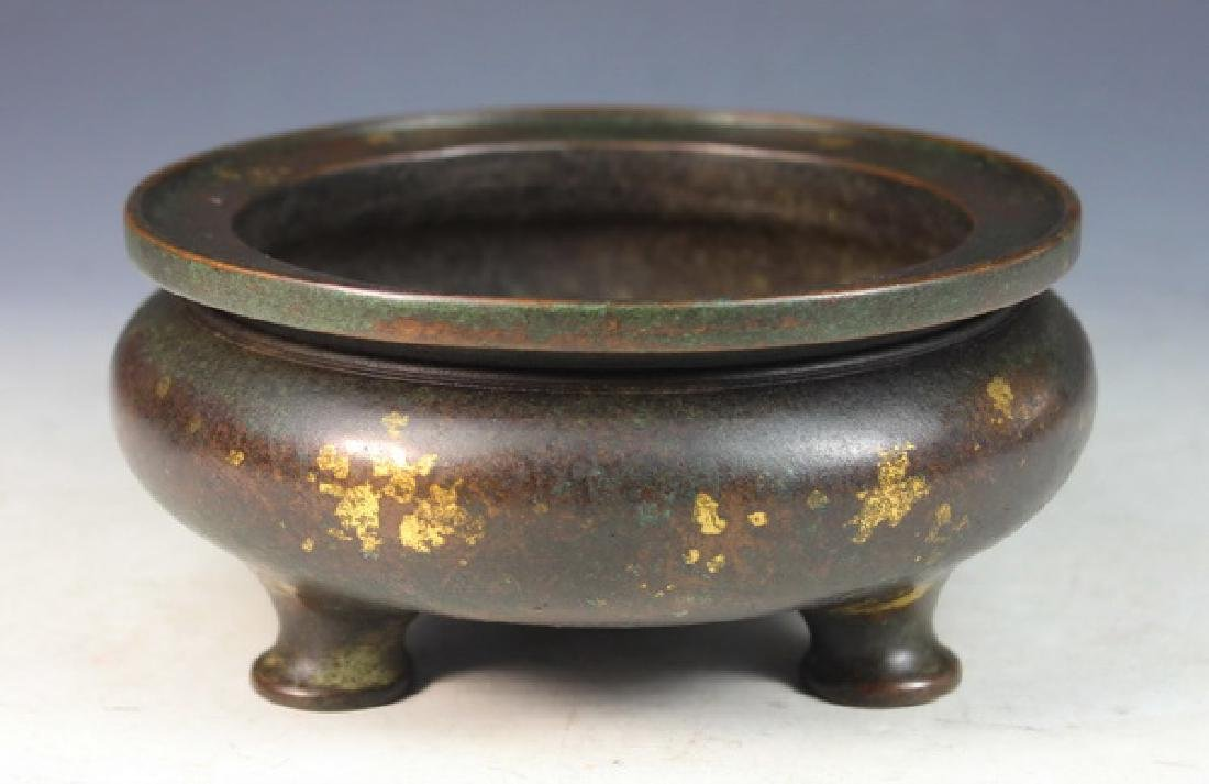 Antique Chinese Bronze Incense Burner Marked