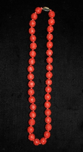 14: Chinese Carved Lacquerware Necklace