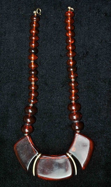 17: Chinese Carved Amber Necklace