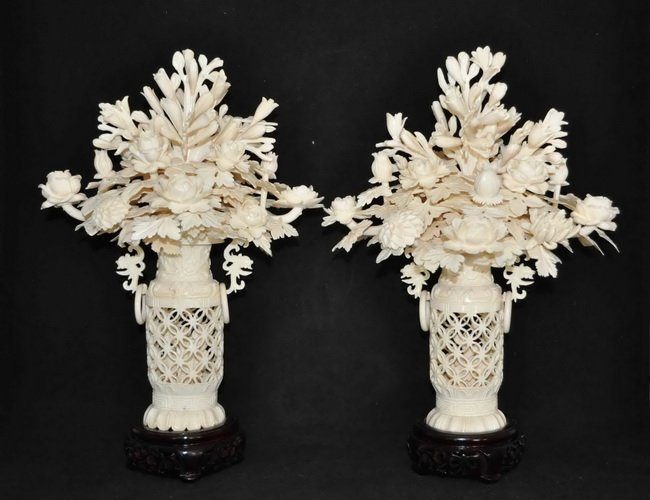 318: 2 Chinese Carved Ivory Basket of Flowers