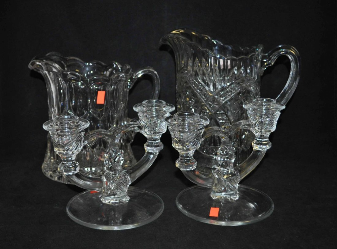 4: 4 Glass Bottles and Candle Holders Set