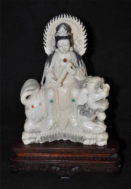 70: Chinese Carved Ivory Statue Guanyin Buddha with Woo