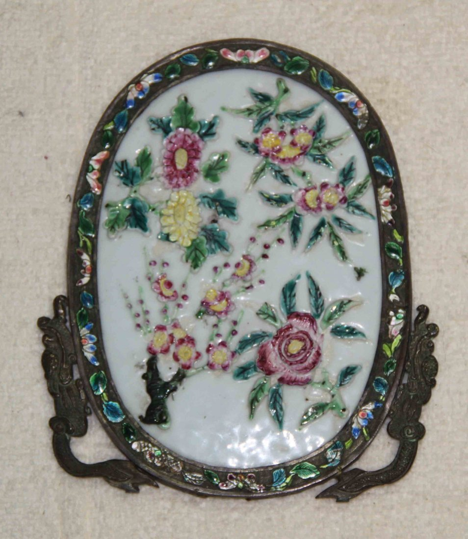 14: Chinese Copper Cloisonne Panel