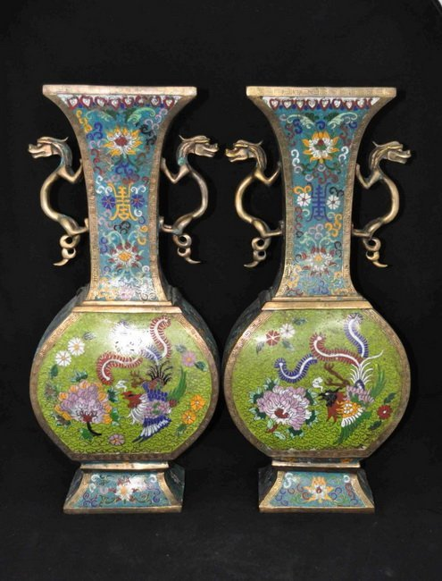 89: Pair Of Chinese Antique Cloisonne Vases