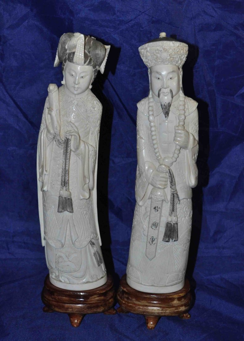2 Chinese Carved Ivory Statues w. Base Marked