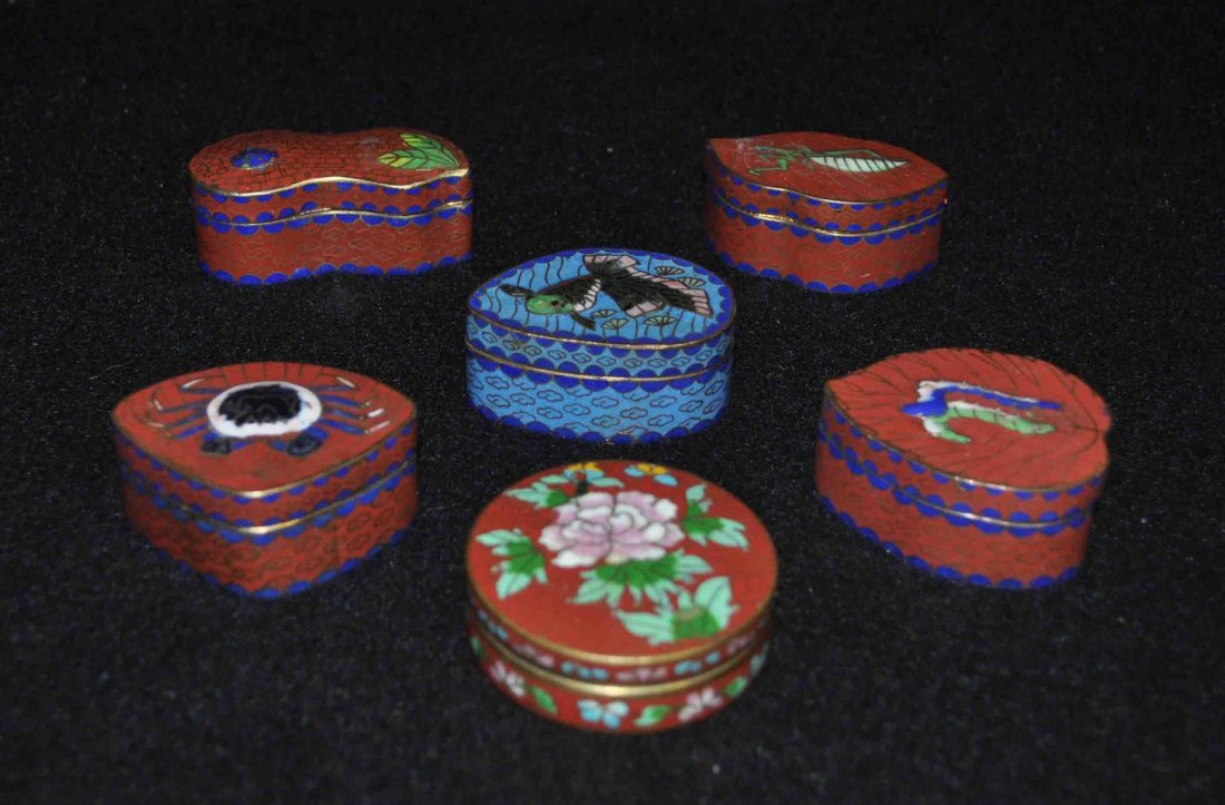 5 Chinese Cloisonne Boxes