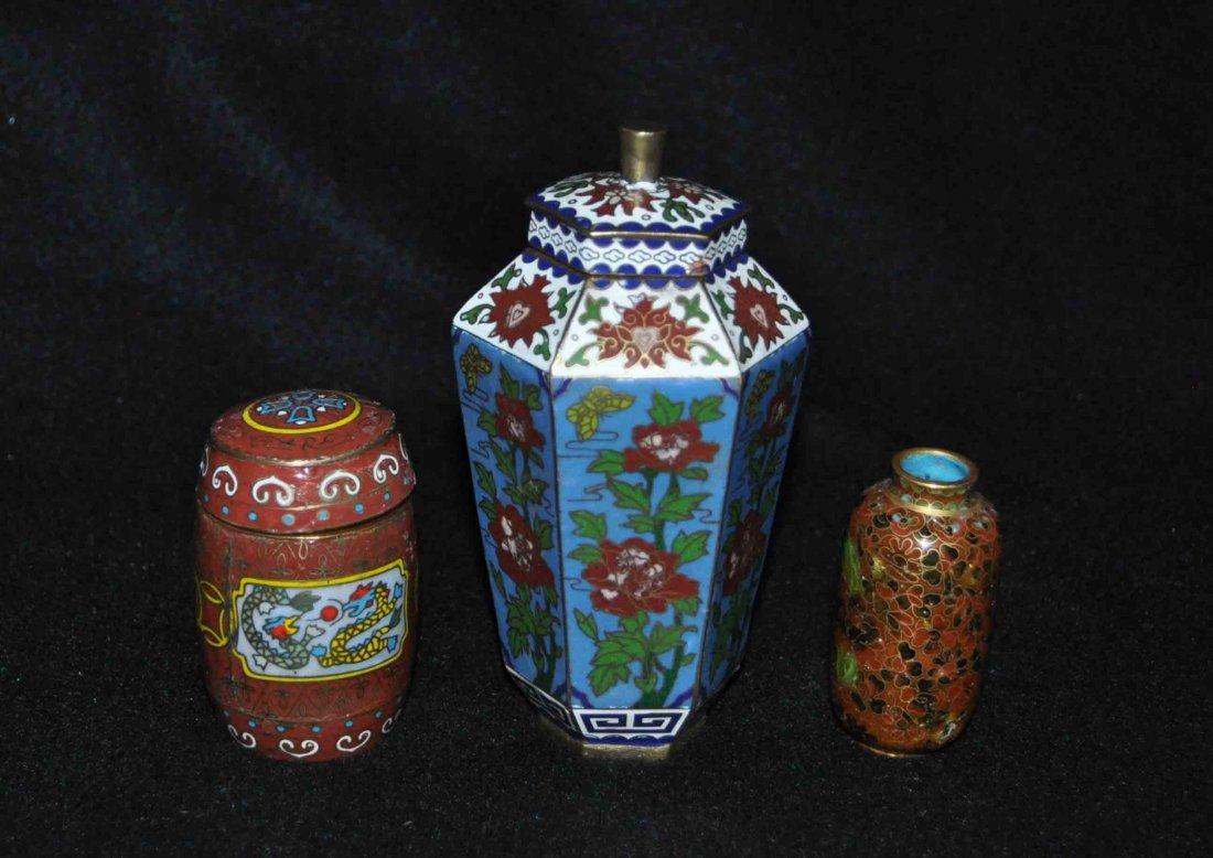 3 Chinese Cloisonne Boxes & Vase