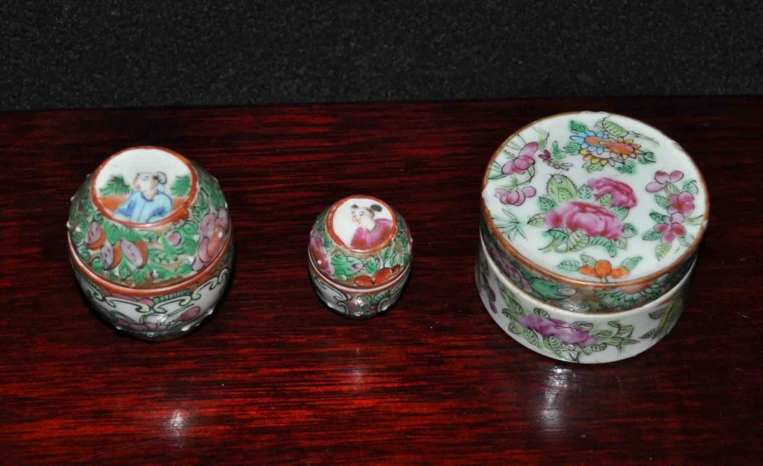 3 Chinese Porcelain Rose Medallion Boxes