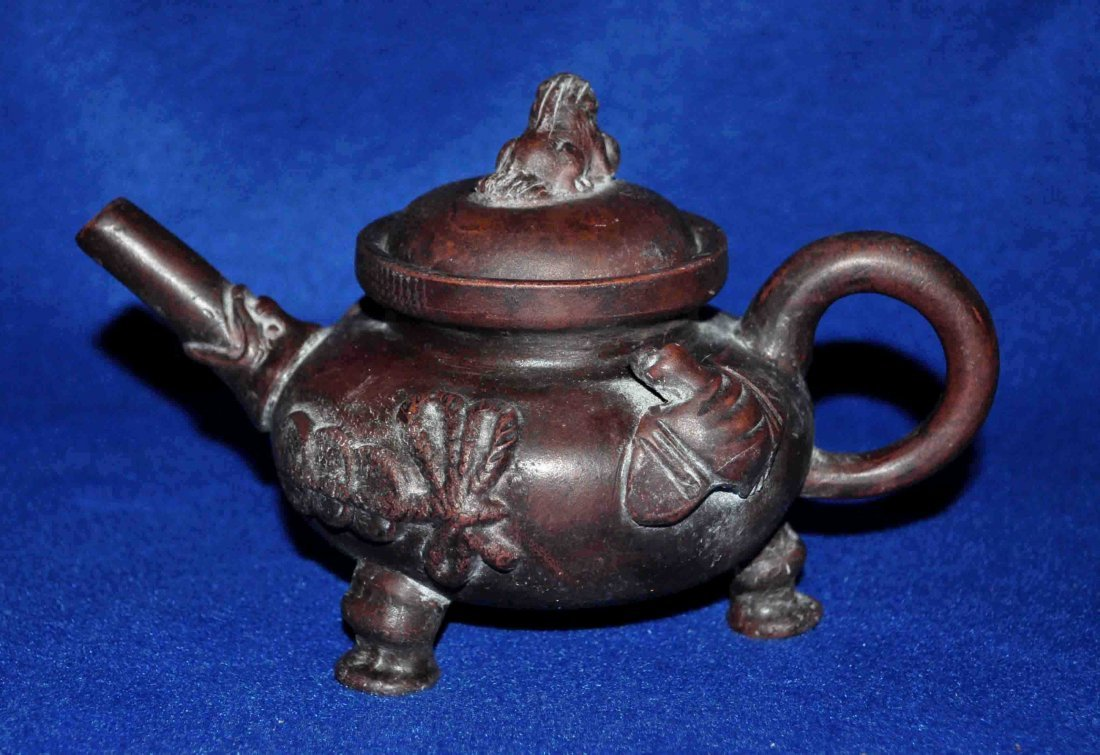 Chinese Dark-red Enameled Pottery Teapot