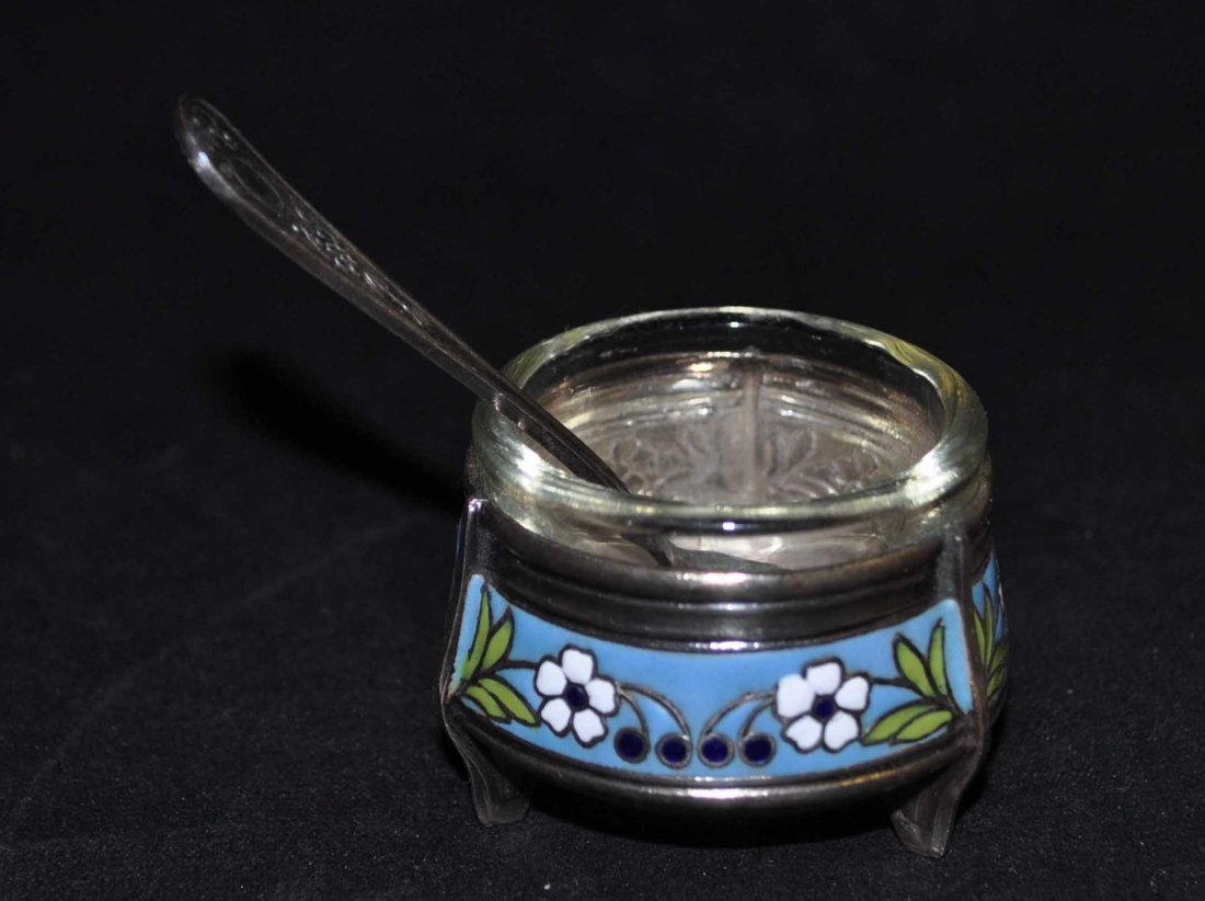 Russia Cloisonne & Glass Cup w. S