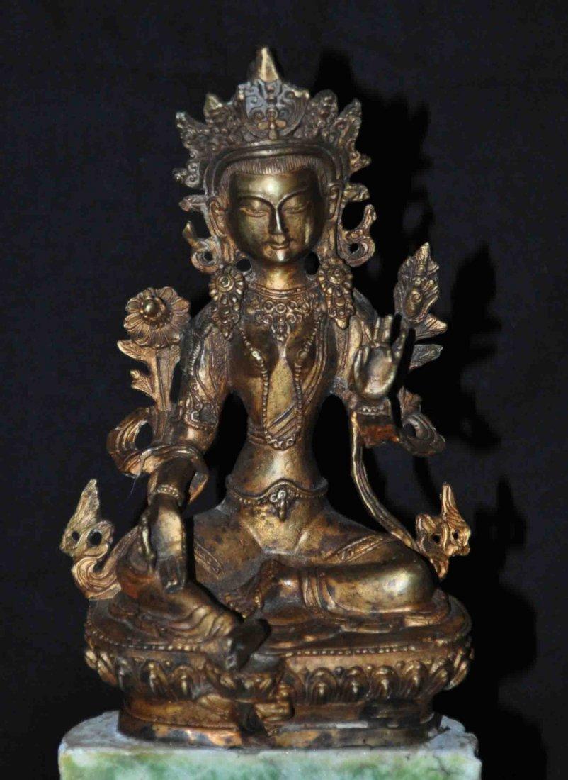 Chinese Bronze Buddha Statue w. Marble Base
