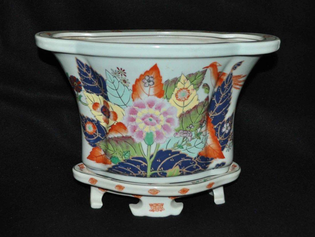 Chinese Porcelain Flowerpot w. Base
