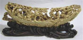 Old Chinese Carved Ivory Sculpture with Wood Stand