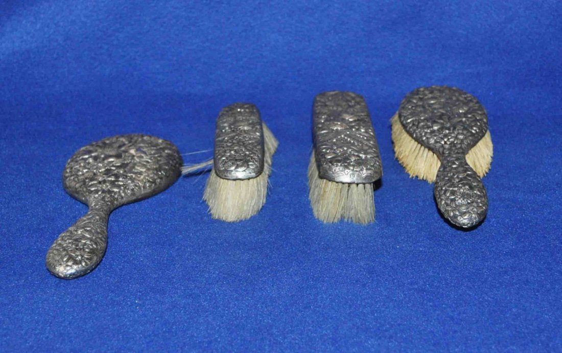 4 Sterling Brushes & Mirror