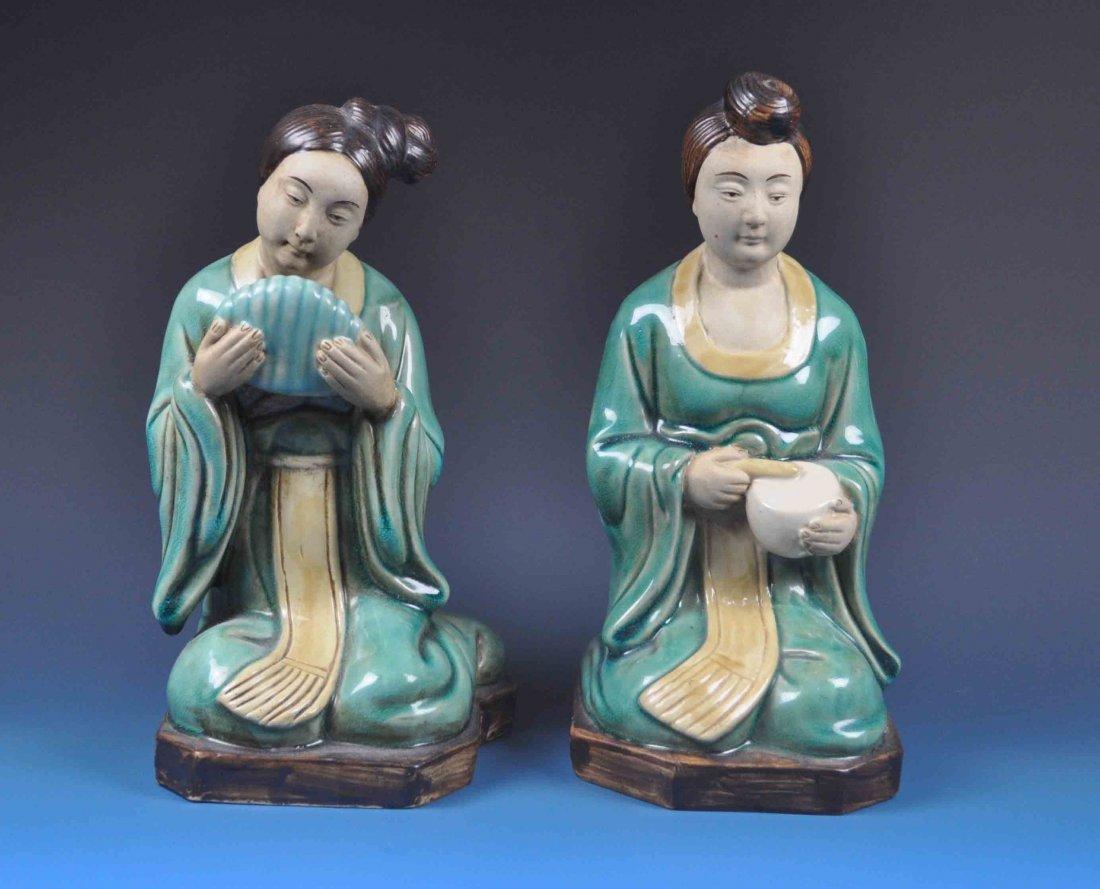 2 Japanese Porcelain Statues