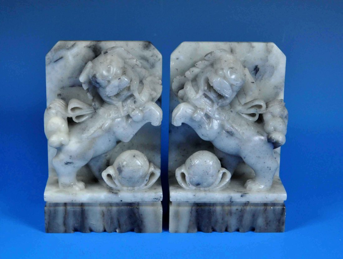 2 Chinese Carved Stone Foo Dog Bookends