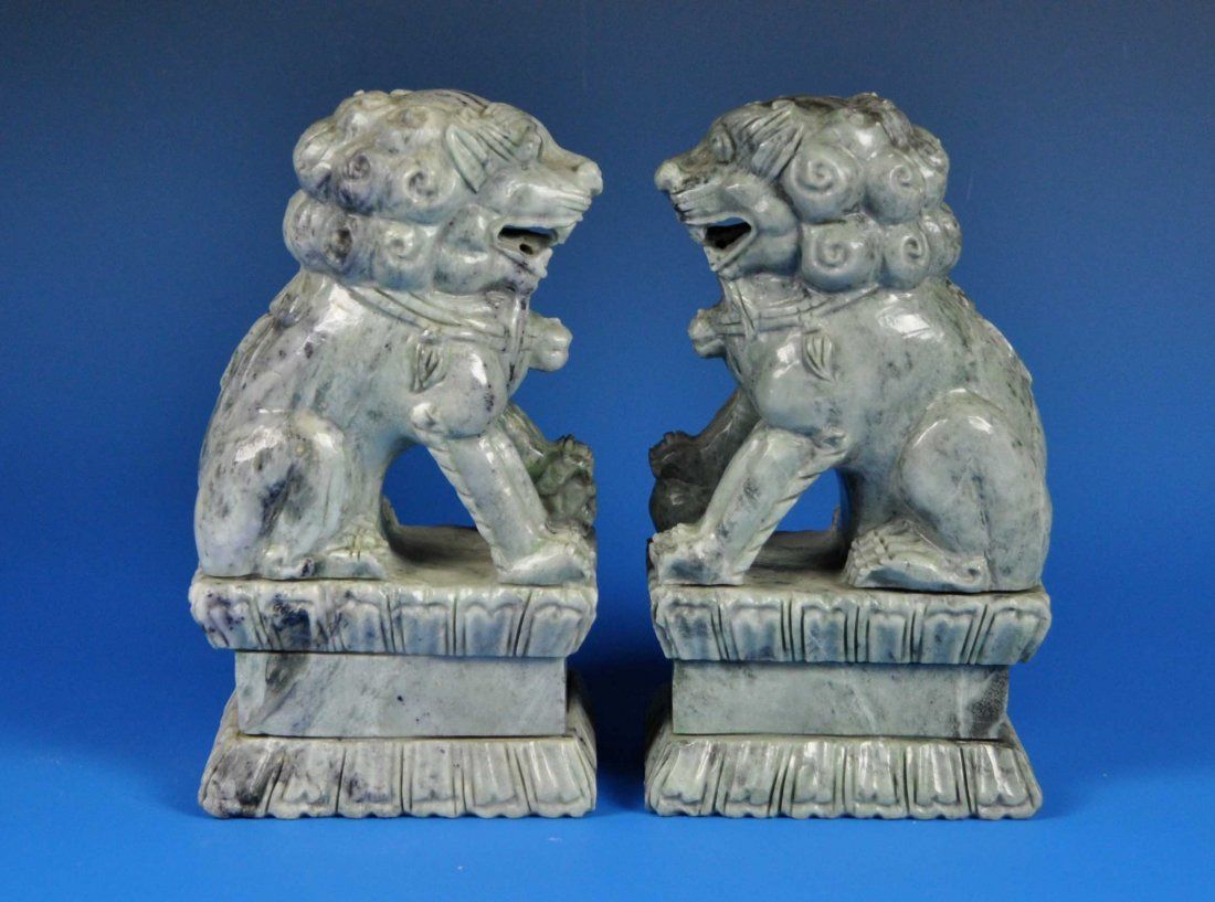 2 Chinese Carved Stone Foo Dog