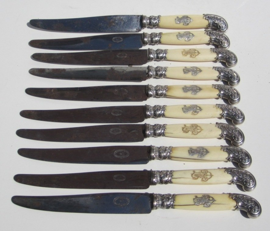 French Ivory Handled Silver Knives